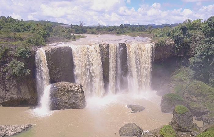 Dalat waterfalls on a drone